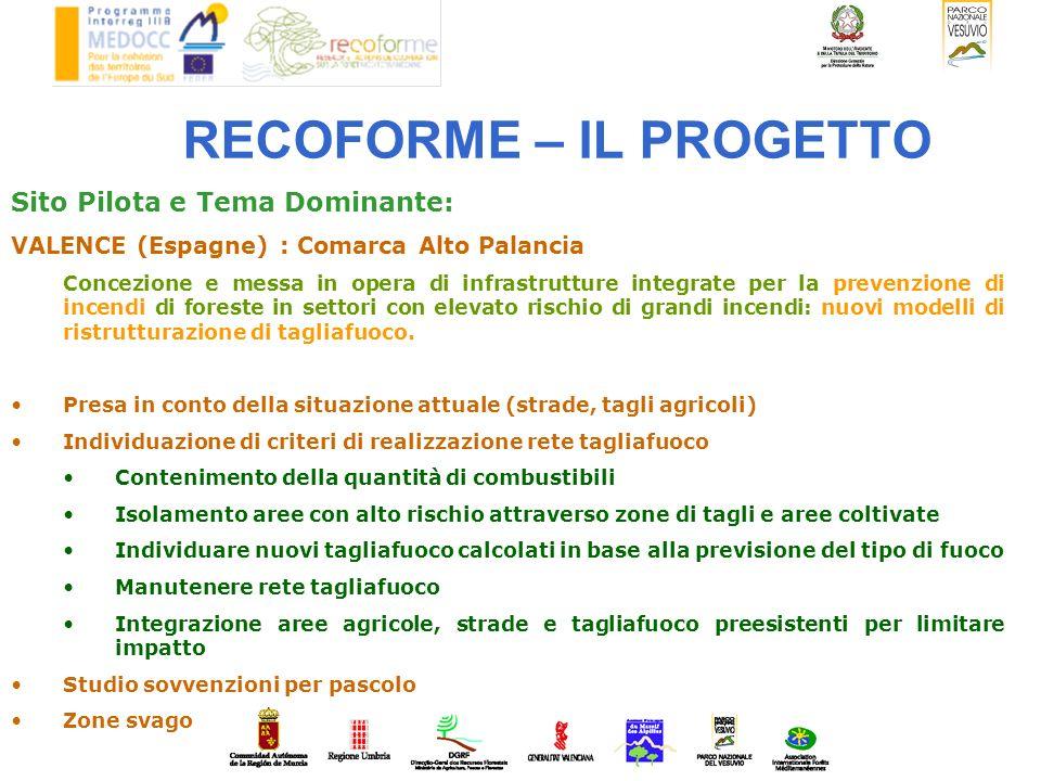 RECOFORME – IL PROGETTO Sito Pilota e Tema Dominante: VALENCE (Espagne) : Comarca Alto Palancia Concezione e messa in opera di infrastrutture integrat