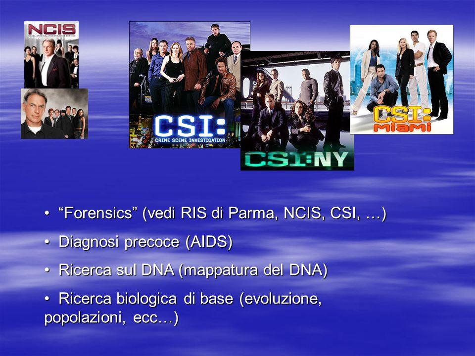 Forensics (vedi RIS di Parma, NCIS, CSI, …) Forensics (vedi RIS di Parma, NCIS, CSI, …) Diagnosi precoce (AIDS) Diagnosi precoce (AIDS) Ricerca sul DNA (mappatura del DNA) Ricerca sul DNA (mappatura del DNA) Ricerca biologica di base (evoluzione, popolazioni, ecc…) Ricerca biologica di base (evoluzione, popolazioni, ecc…)
