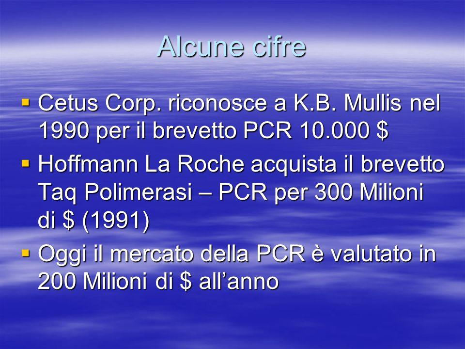 Alcune cifre Cetus Corp.riconosce a K.B. Mullis nel 1990 per il brevetto PCR 10.000 $ Cetus Corp.