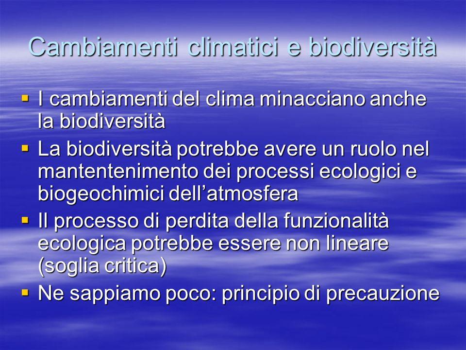 Cambiamenti climatici e biodiversità I cambiamenti del clima minacciano anche la biodiversità I cambiamenti del clima minacciano anche la biodiversità La biodiversità potrebbe avere un ruolo nel mantentenimento dei processi ecologici e biogeochimici dellatmosfera La biodiversità potrebbe avere un ruolo nel mantentenimento dei processi ecologici e biogeochimici dellatmosfera Il processo di perdita della funzionalità ecologica potrebbe essere non lineare (soglia critica) Il processo di perdita della funzionalità ecologica potrebbe essere non lineare (soglia critica) Ne sappiamo poco: principio di precauzione Ne sappiamo poco: principio di precauzione
