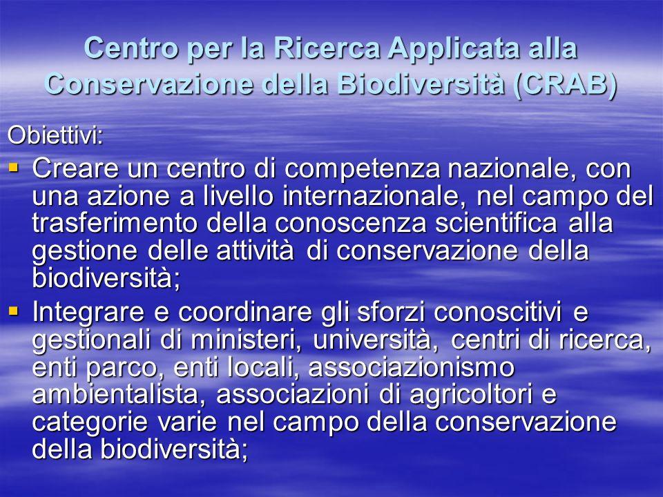 Centro per la Ricerca Applicata alla Conservazione della Biodiversità (CRAB) Obiettivi: Creare un centro di competenza nazionale, con una azione a livello internazionale, nel campo del trasferimento della conoscenza scientifica alla gestione delle attività di conservazione della biodiversità; Creare un centro di competenza nazionale, con una azione a livello internazionale, nel campo del trasferimento della conoscenza scientifica alla gestione delle attività di conservazione della biodiversità; Integrare e coordinare gli sforzi conoscitivi e gestionali di ministeri, università, centri di ricerca, enti parco, enti locali, associazionismo ambientalista, associazioni di agricoltori e categorie varie nel campo della conservazione della biodiversità; Integrare e coordinare gli sforzi conoscitivi e gestionali di ministeri, università, centri di ricerca, enti parco, enti locali, associazionismo ambientalista, associazioni di agricoltori e categorie varie nel campo della conservazione della biodiversità;