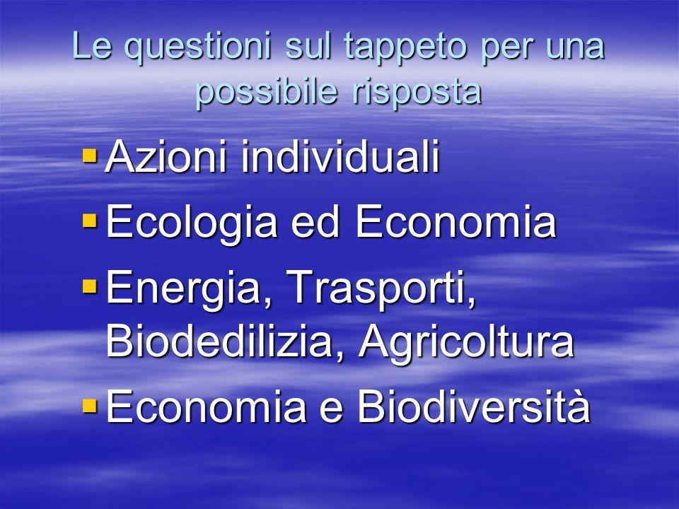 Azioni individuali Azioni individuali Ecologia ed Economia Ecologia ed Economia Energia, Trasporti, Biodedilizia, Agricoltura Energia, Trasporti, Biodedilizia, Agricoltura Economia e Biodiversità Economia e Biodiversità Le questioni sul tappeto per una possibile risposta