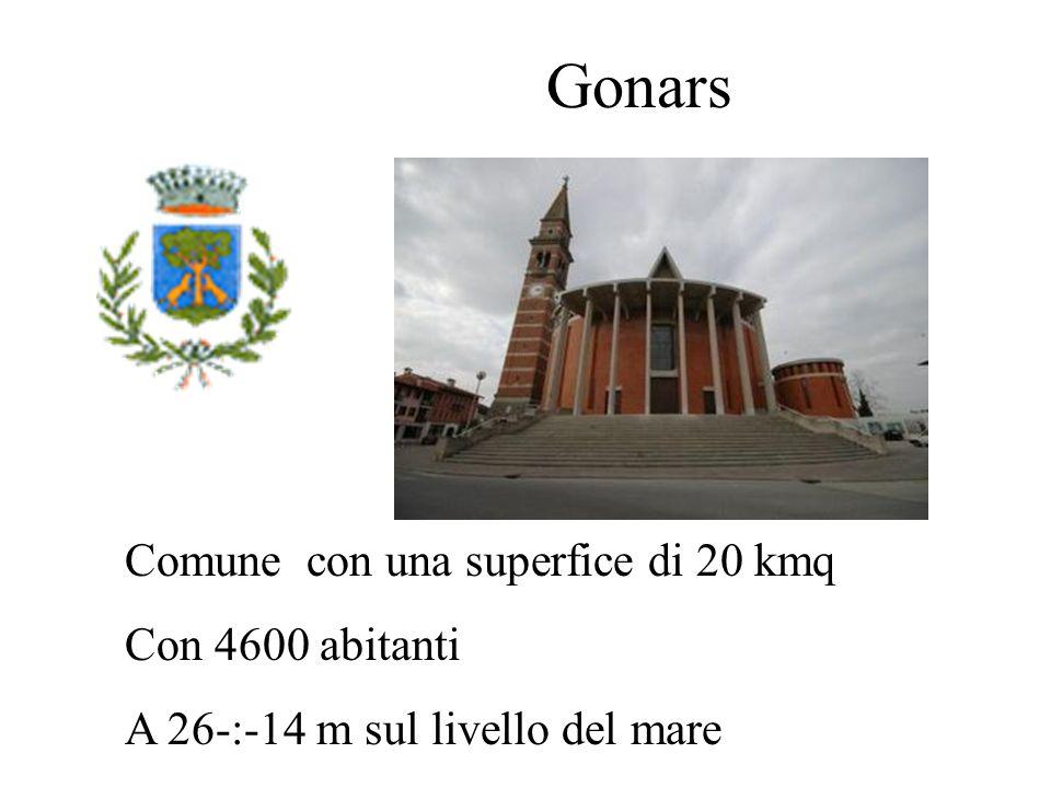Gonars Comune con una superfice di 20 kmq Con 4600 abitanti A 26-:-14 m sul livello del mare
