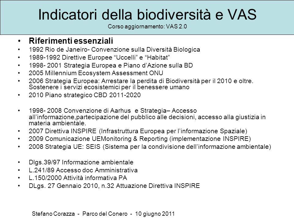 Indicatori della biodiversità e VAS Corso aggiornamento: VAS 2.0 Stefano Corazza - Parco del Conero - 10 giugno 2011 Riferimenti essenziali 1992 Rio d