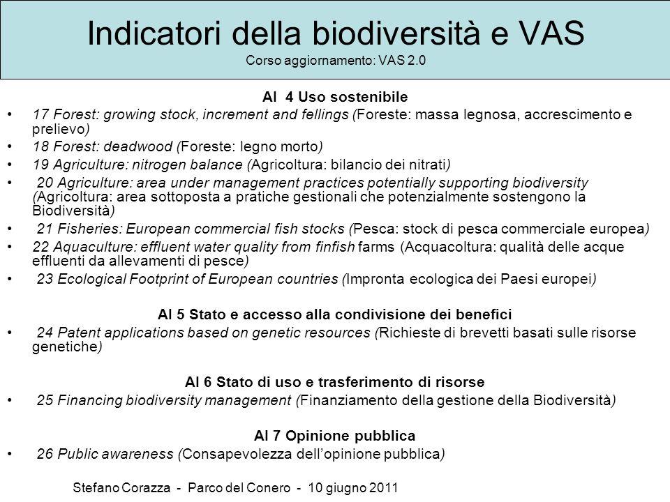 Indicatori della biodiversità e VAS Corso aggiornamento: VAS 2.0 Stefano Corazza - Parco del Conero - 10 giugno 2011 AI 4 Uso sostenibile 17 Forest: g