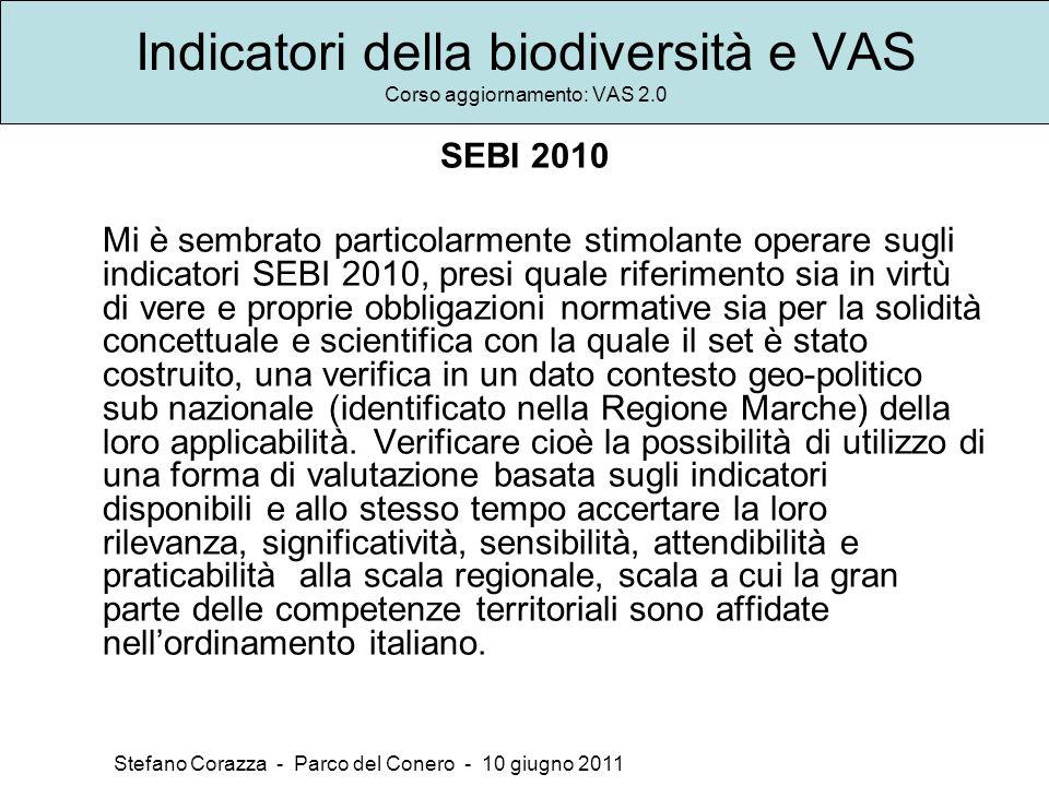 Indicatori della biodiversità e VAS Corso aggiornamento: VAS 2.0 Stefano Corazza - Parco del Conero - 10 giugno 2011 SEBI 2010 Mi è sembrato particola