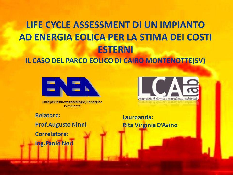 Efficienza Energia non rinnovabile impiagata per la vita dellimpianto: 0,25588 MJeq- fossile 0,062439 MJeq- nucleare Totale in kWh: 0,088kW per kW da eolico Efficienza: ammontare dellenergia non rinnovabile richiesta per lerogazione di 1 kWh da eolico: 1/0,088=11,25 nettamente efficiente RISULTATI DELLANALISI – efficienza energetica e rendimento Rendimento Ammontare dellenergia del vento richiesta per lerogazione di 3,6 MJeq da eolico: 18 MJeq Rendimento turbina: 3,6/18=0,2 rendimento del 20% (turbine da fonte non rinnovabile: 35%)