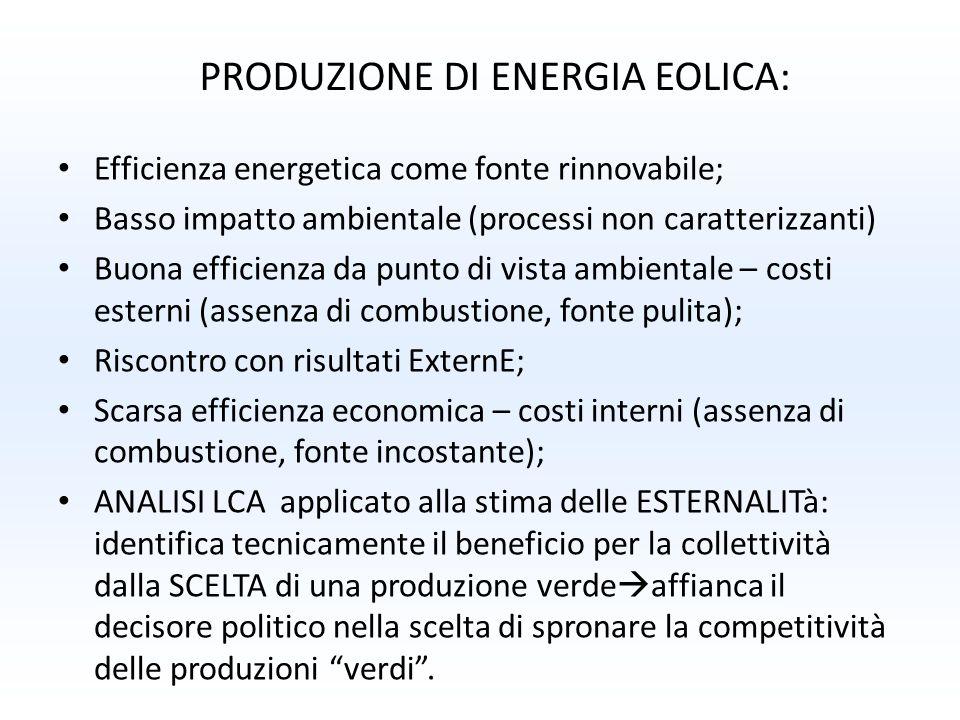 Efficienza energetica come fonte rinnovabile; Basso impatto ambientale (processi non caratterizzanti) Buona efficienza da punto di vista ambientale –