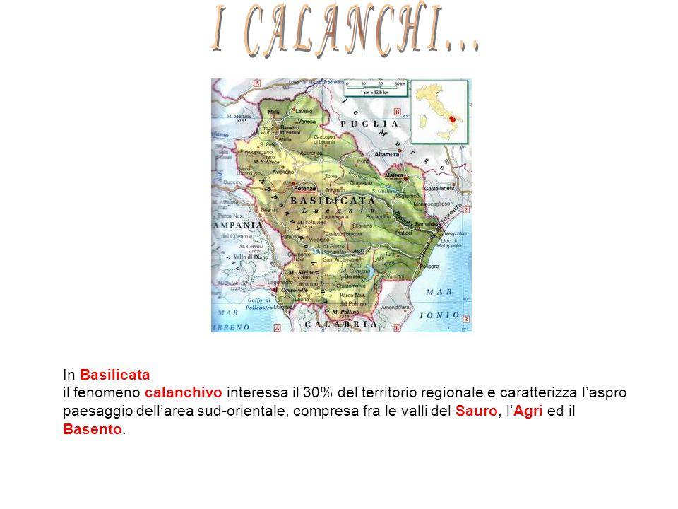 In Basilicata il fenomeno calanchivo interessa il 30% del territorio regionale e caratterizza laspro paesaggio dellarea sud-orientale, compresa fra le valli del Sauro, lAgri ed il Basento.
