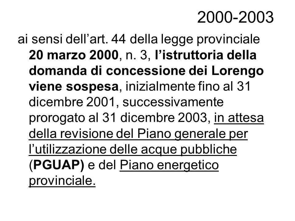 2000-2003 ai sensi dellart. 44 della legge provinciale 20 marzo 2000, n. 3, listruttoria della domanda di concessione dei Lorengo viene sospesa, inizi