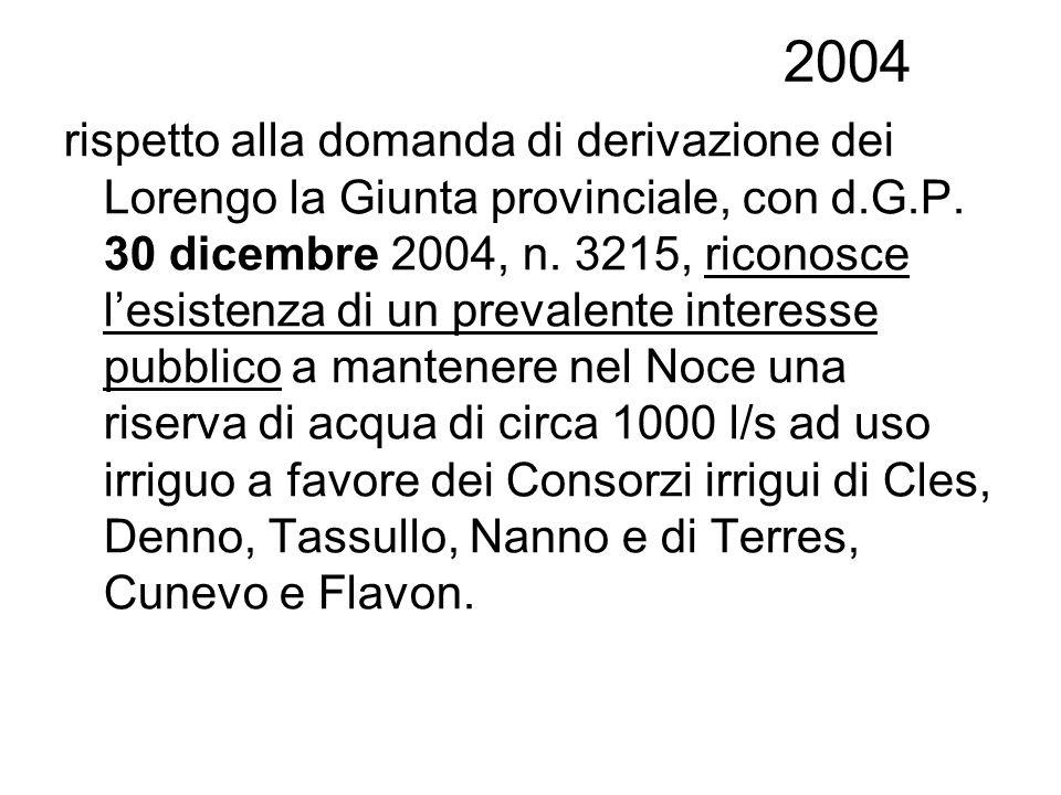 2004 rispetto alla domanda di derivazione dei Lorengo la Giunta provinciale, con d.G.P. 30 dicembre 2004, n. 3215, riconosce lesistenza di un prevalen
