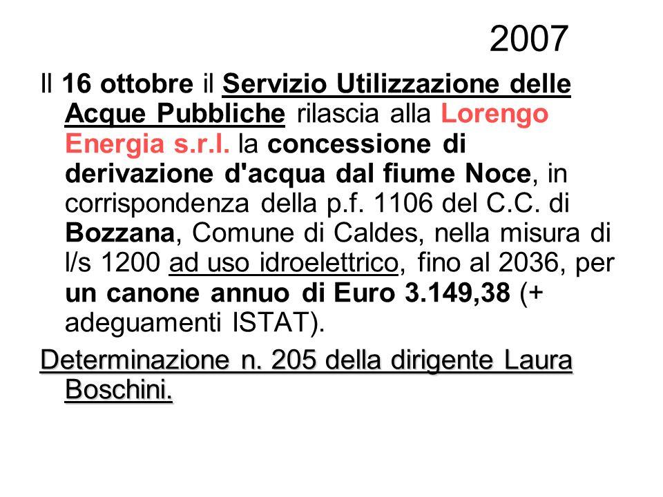 2007 Il 16 ottobre il Servizio Utilizzazione delle Acque Pubbliche rilascia alla Lorengo Energia s.r.l. la concessione di derivazione d'acqua dal fium
