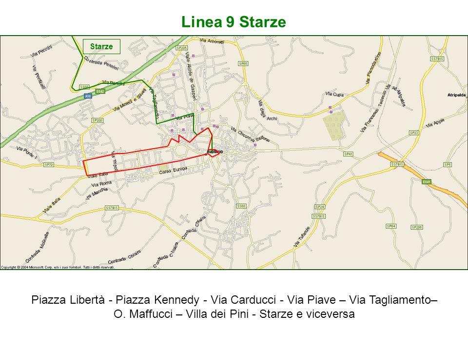 Linea 9 Starze Piazza Libertà - Piazza Kennedy - Via Carducci - Via Piave – Via Tagliamento– O. Maffucci – Villa dei Pini - Starze e viceversa Starze