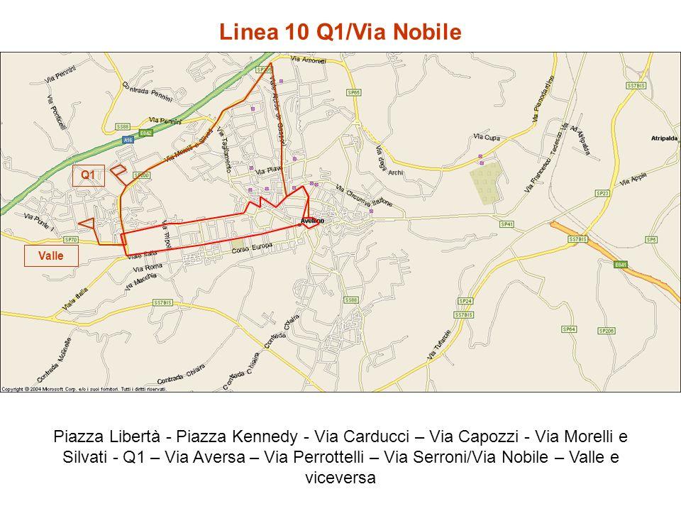 Linea 10 Q1/Via Nobile Piazza Libertà - Piazza Kennedy - Via Carducci – Via Capozzi - Via Morelli e Silvati - Q1 – Via Aversa – Via Perrottelli – Via