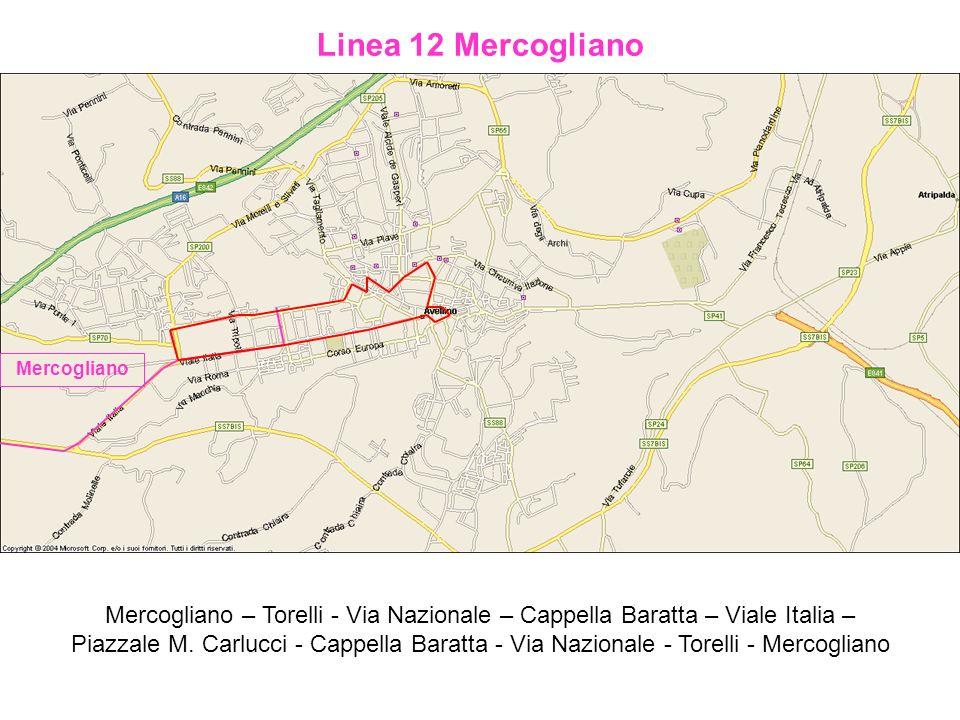 Linea 12 Mercogliano Mercogliano – Torelli - Via Nazionale – Cappella Baratta – Viale Italia – Piazzale M. Carlucci - Cappella Baratta - Via Nazionale