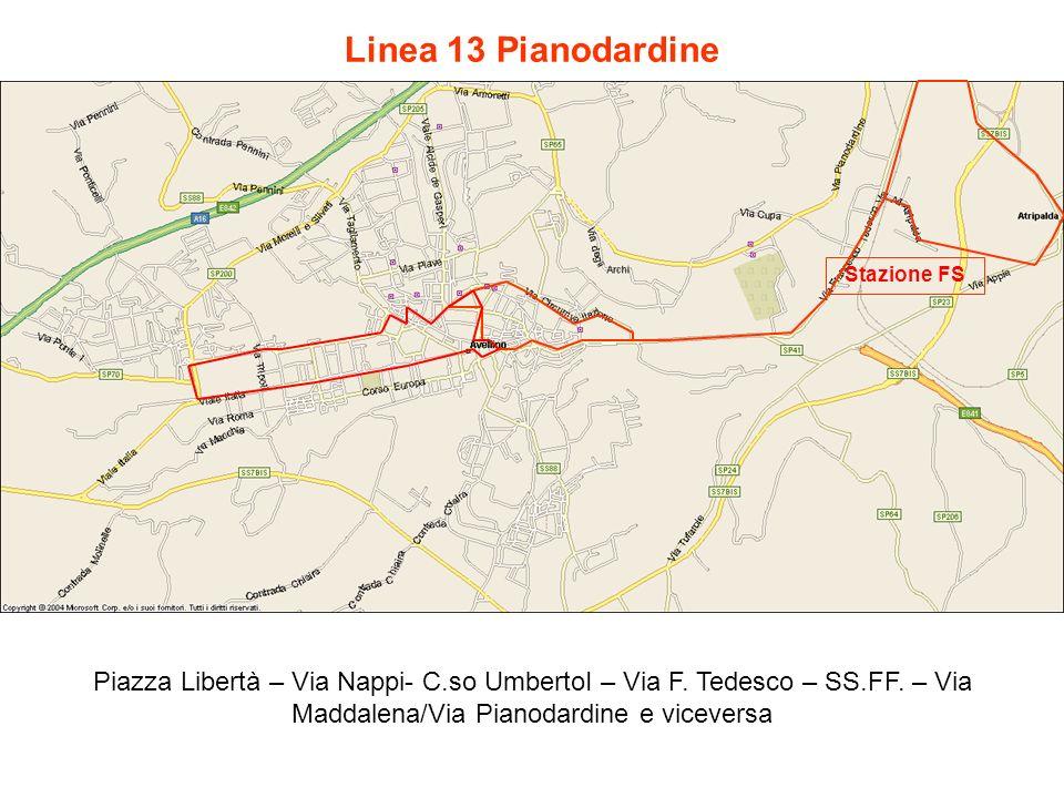 Linea 13 Pianodardine Piazza Libertà – Via Nappi- C.so UmbertoI – Via F. Tedesco – SS.FF. – Via Maddalena/Via Pianodardine e viceversa Stazione FS