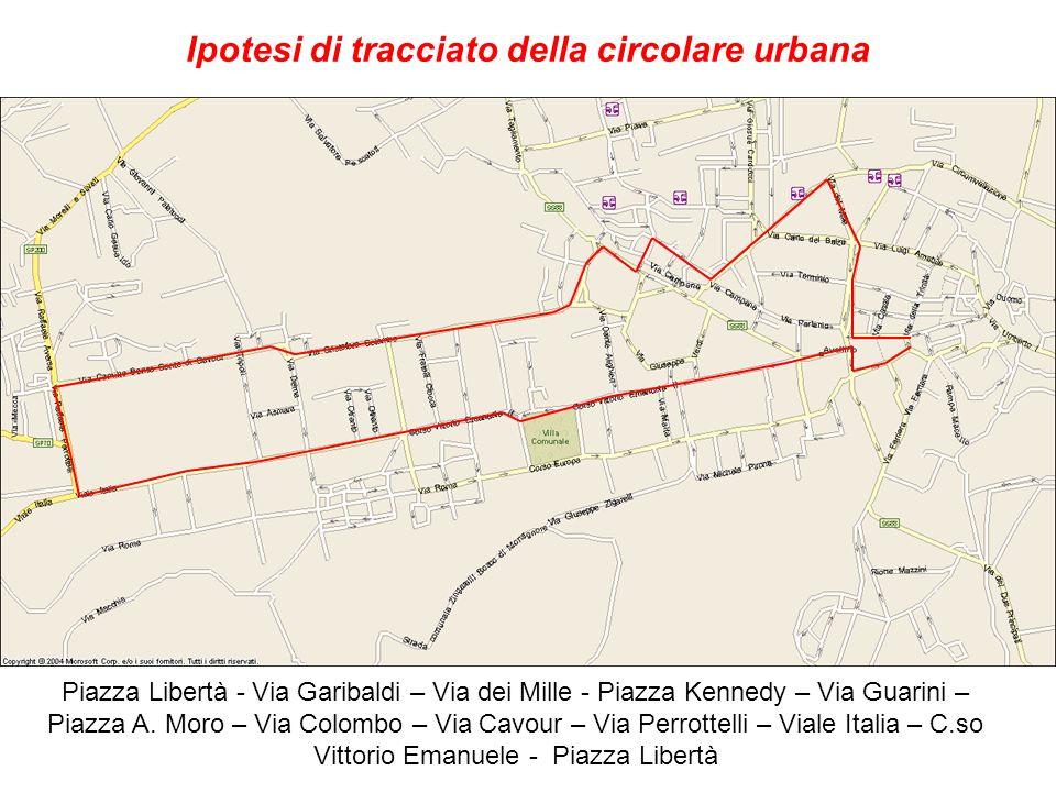 Ipotesi di tracciato della circolare urbana Piazza Libertà - Via Garibaldi – Via dei Mille - Piazza Kennedy – Via Guarini – Piazza A. Moro – Via Colom