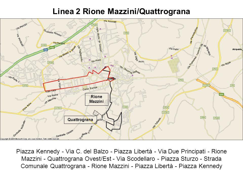 Piazza Kennedy - Via C. del Balzo - Piazza Libertà - Via Due Principati - Rione Mazzini - Quattrograna Ovest/Est - Via Scodellaro - Piazza Sturzo - St