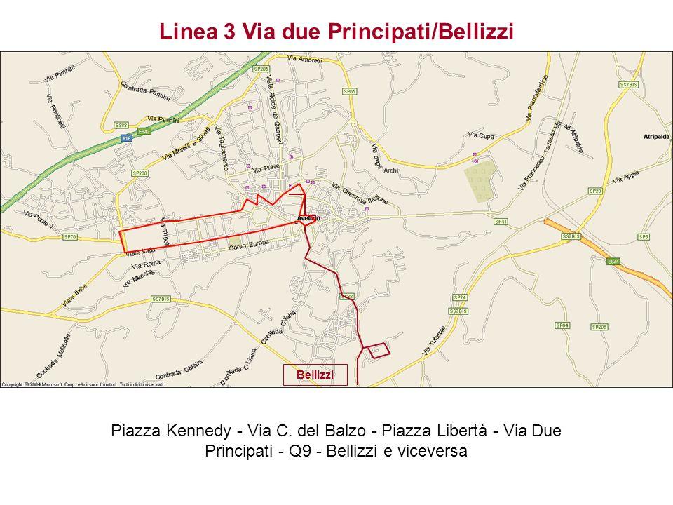 Bellizzi Linea 3 Via due Principati/Bellizzi Piazza Kennedy - Via C. del Balzo - Piazza Libertà - Via Due Principati - Q9 - Bellizzi e viceversa