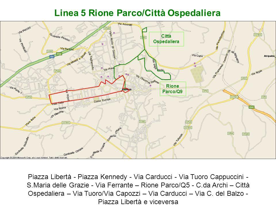 Piazza Libertà - Piazza Kennedy - Via Carducci - Via Tuoro Cappuccini - S.Maria delle Grazie - Via Ferrante – Rione Parco/Q5 - C.da Archi – Città Ospe