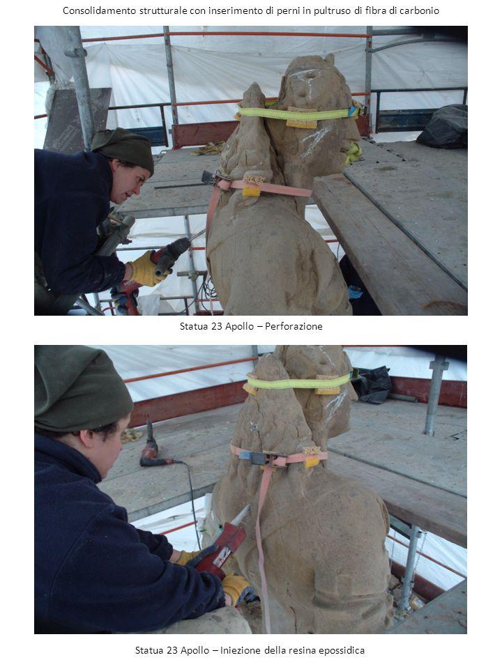 Statua 23 Apollo – Perforazione Consolidamento strutturale con inserimento di perni in pultruso di fibra di carbonio Statua 23 Apollo – Iniezione dell