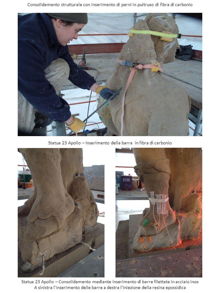 Consolidamento strutturale con inserimento di perni in pultruso di fibra di carbonio Statua 23 Apollo – Inserimento della barra in fibra di carbonio S
