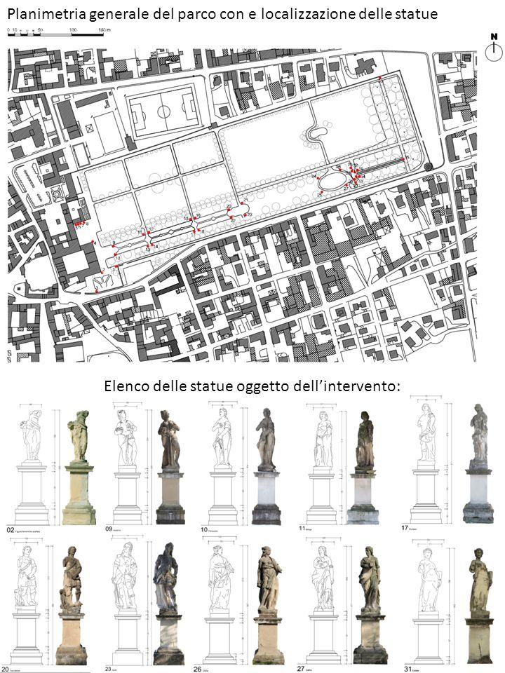 Planimetria generale del parco con e localizzazione delle statue Elenco delle statue oggetto dellintervento: