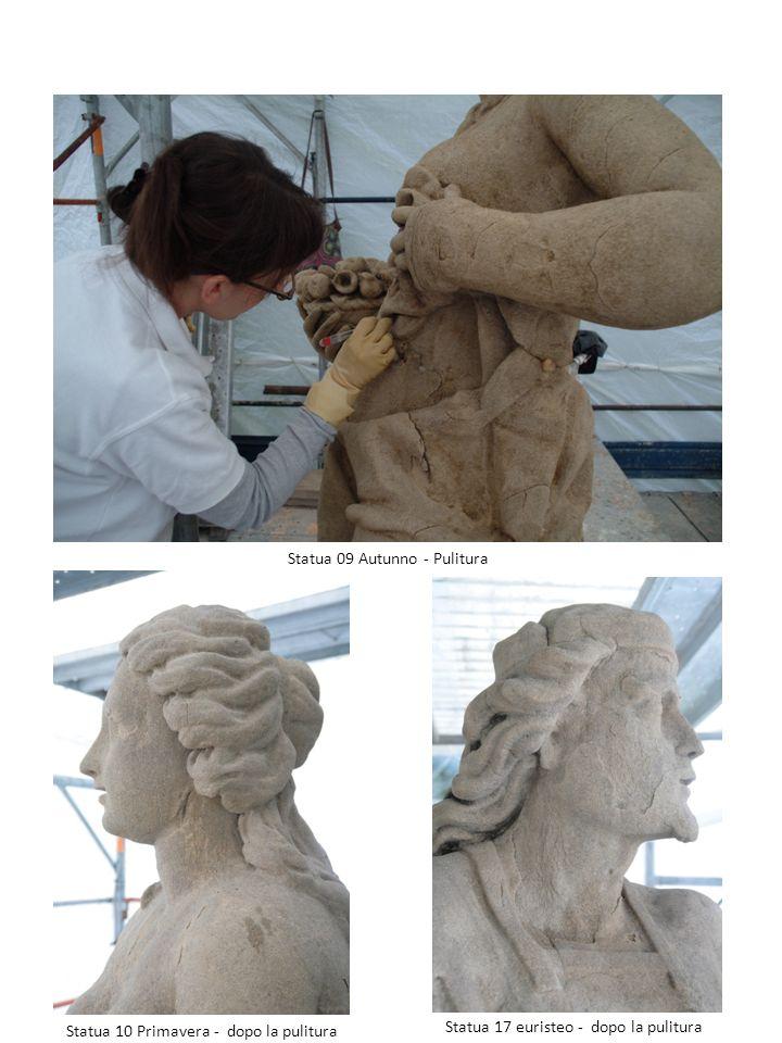 Statua 09 Autunno - Pulitura Statua 10 Primavera - dopo la pulitura Statua 17 euristeo - dopo la pulitura