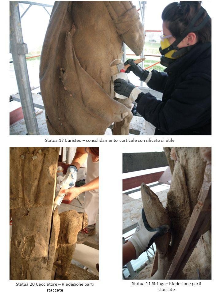 Statua 17 Euristeo – consolidamento corticale con silicato di etile Statua 11 Siringa– Riadesione parti staccate Statua 20 Cacciatore – Riadesione par
