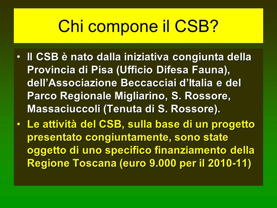 Chi compone il CSB? Il CSB è nato dalla iniziativa congiunta della Provincia di Pisa (Ufficio Difesa Fauna), dellAssociazione Beccacciai dItalia e del