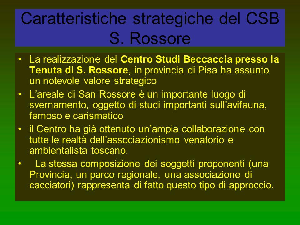 Caratteristiche strategiche del CSB S. Rossore La realizzazione del Centro Studi Beccaccia presso la Tenuta di S. Rossore, in provincia di Pisa ha ass