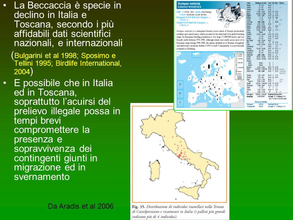 La Beccaccia è specie in declino in Italia e Toscana, secondo i più affidabili dati scientifici nazionali, e internazionali ( Bulgarini et al 1998; Sp