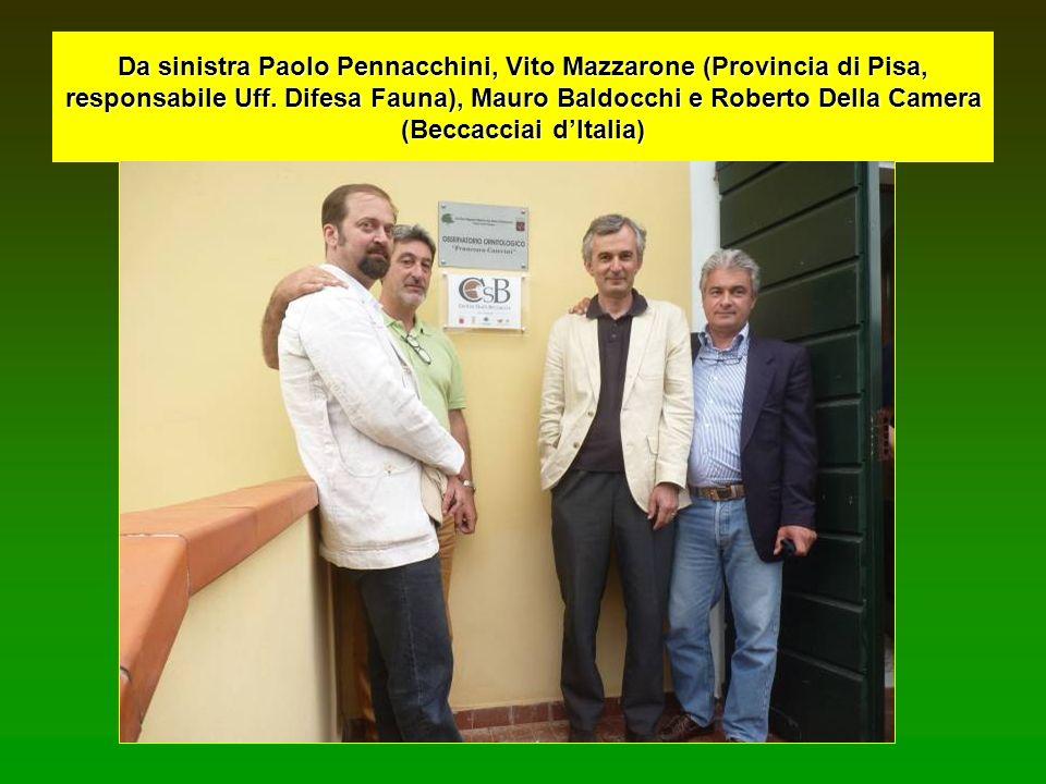 Da sinistra Paolo Pennacchini, Vito Mazzarone (Provincia di Pisa, responsabile Uff. Difesa Fauna), Mauro Baldocchi e Roberto Della Camera (Beccacciai
