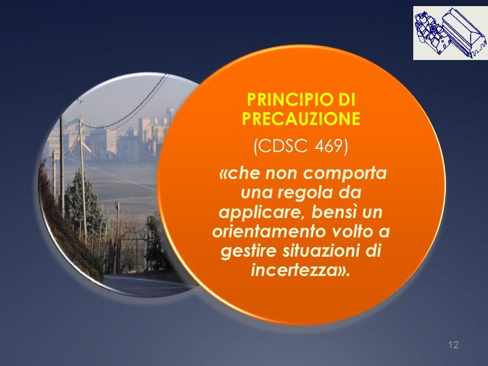 12 PRINCIPIO DI PRECAUZIONE (CDSC 469) «che non comporta una regola da applicare, bensì un orientamento volto a gestire situazioni di incertezza».