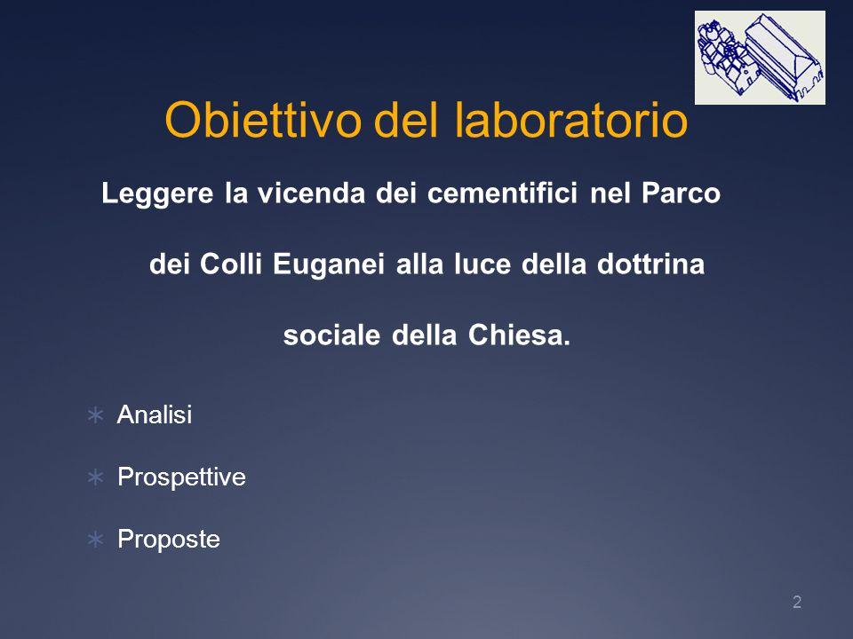 2 Obiettivo del laboratorio Leggere la vicenda dei cementifici nel Parco dei Colli Euganei alla luce della dottrina sociale della Chiesa. Analisi Pros