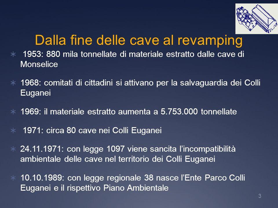 3 1953: 880 mila tonnellate di materiale estratto dalle cave di Monselice 1968: comitati di cittadini si attivano per la salvaguardia dei Colli Eugane