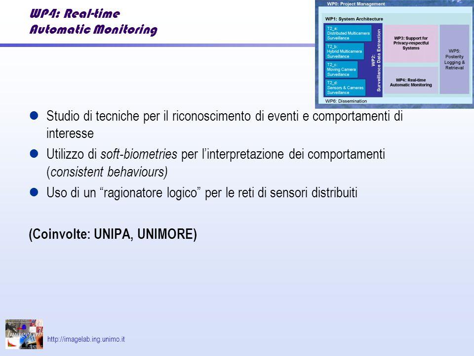 http://imagelab.ing.unimo.it WP4: Real-time Automatic Monitoring Studio di tecniche per il riconoscimento di eventi e comportamenti di interesse Utilizzo di soft-biometries per linterpretazione dei comportamenti ( consistent behaviours) Uso di un ragionatore logico per le reti di sensori distribuiti (Coinvolte: UNIPA, UNIMORE)