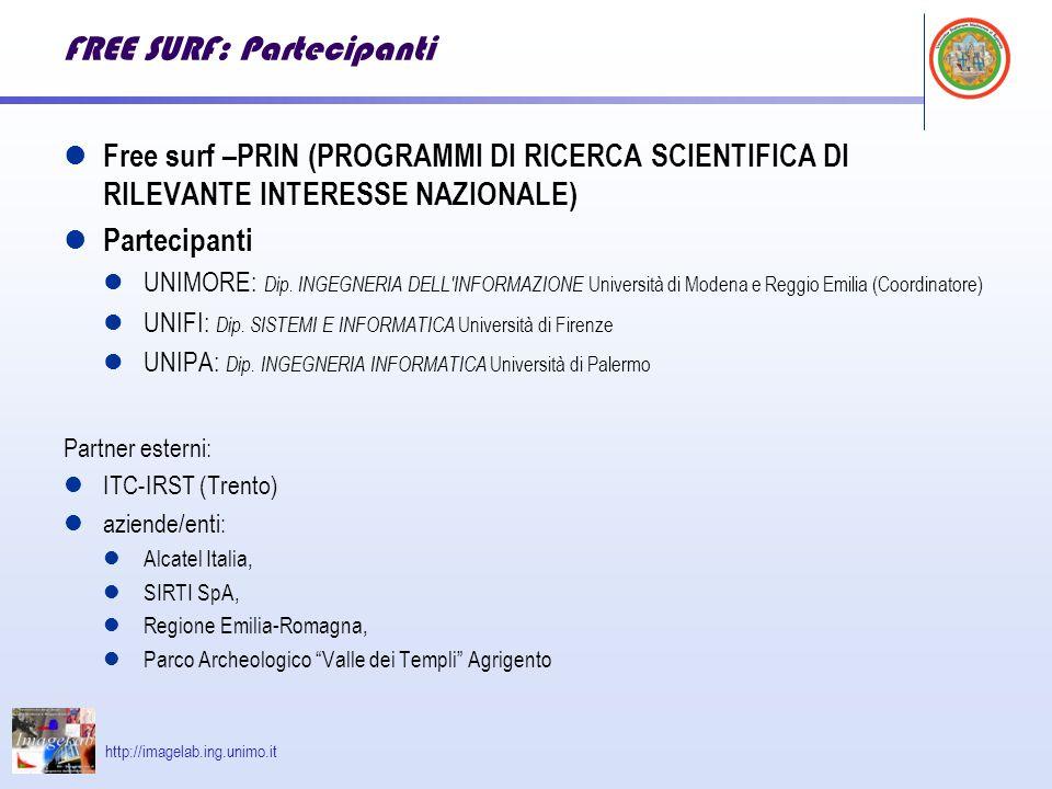 http://imagelab.ing.unimo.it FREE SURF: Partecipanti Free surf –PRIN (PROGRAMMI DI RICERCA SCIENTIFICA DI RILEVANTE INTERESSE NAZIONALE) Partecipanti UNIMORE: Dip.