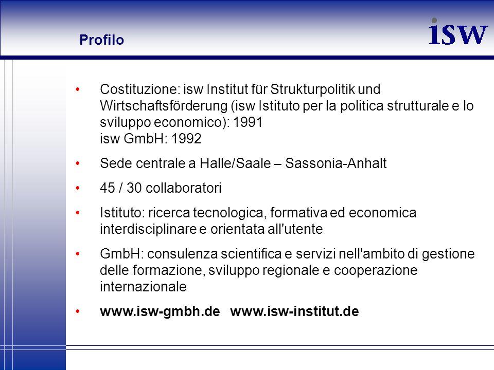Profilo Costituzione: isw Institut für Strukturpolitik und Wirtschaftsförderung (isw Istituto per la politica strutturale e lo sviluppo economico): 19