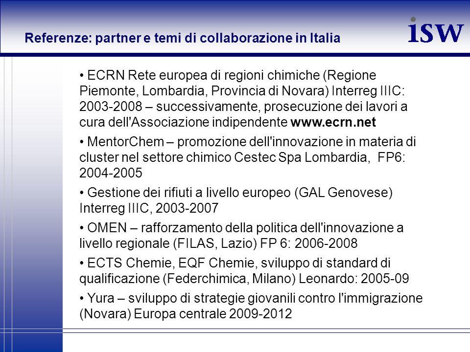 Referenze: partner e temi di collaborazione in Italia ECRN Rete europea di regioni chimiche (Regione Piemonte, Lombardia, Provincia di Novara) Interre