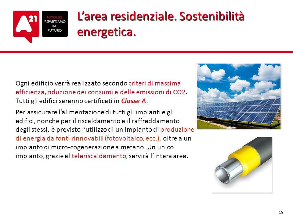 Larea residenziale. Sostenibilità energetica. Ogni edificio verrà realizzato secondo criteri di massima efficienza, riduzione dei consumi e delle emis