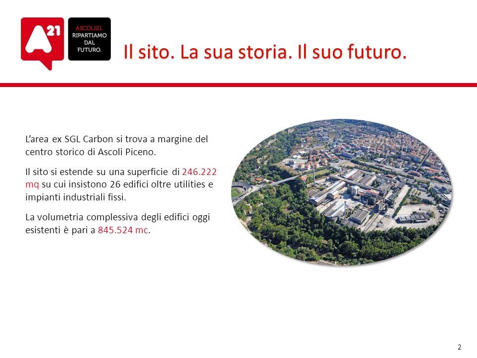 Il sito. La sua storia. Il suo futuro. Larea ex SGL Carbon si trova a margine del centro storico di Ascoli Piceno. Il sito si estende su una superfici