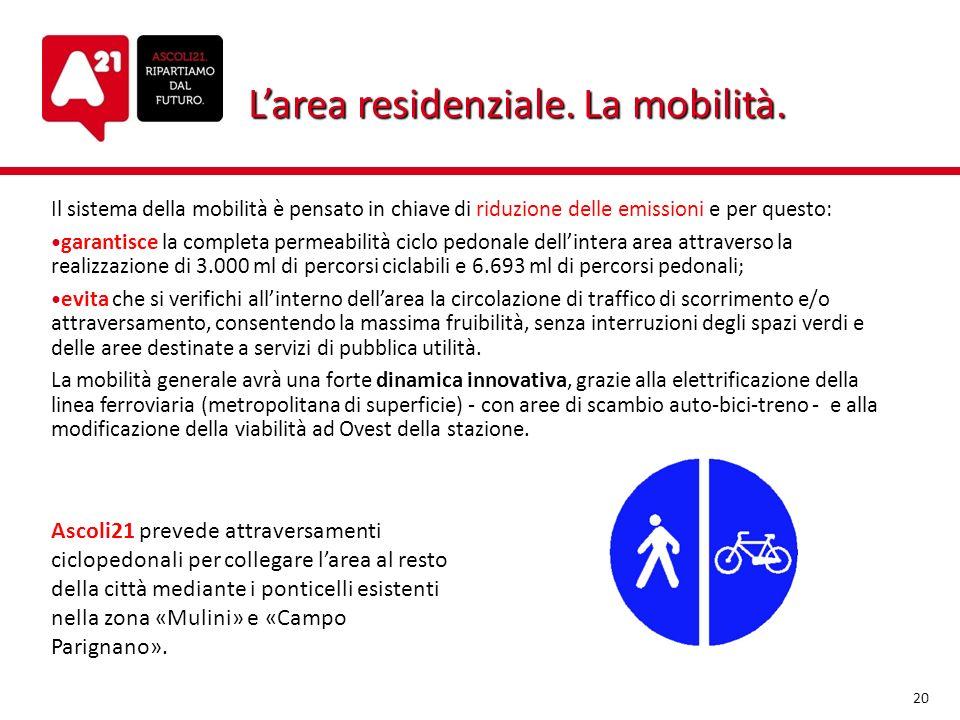 Larea residenziale. La mobilità. Il sistema della mobilità è pensato in chiave di riduzione delle emissioni e per questo: garantisce la completa perme