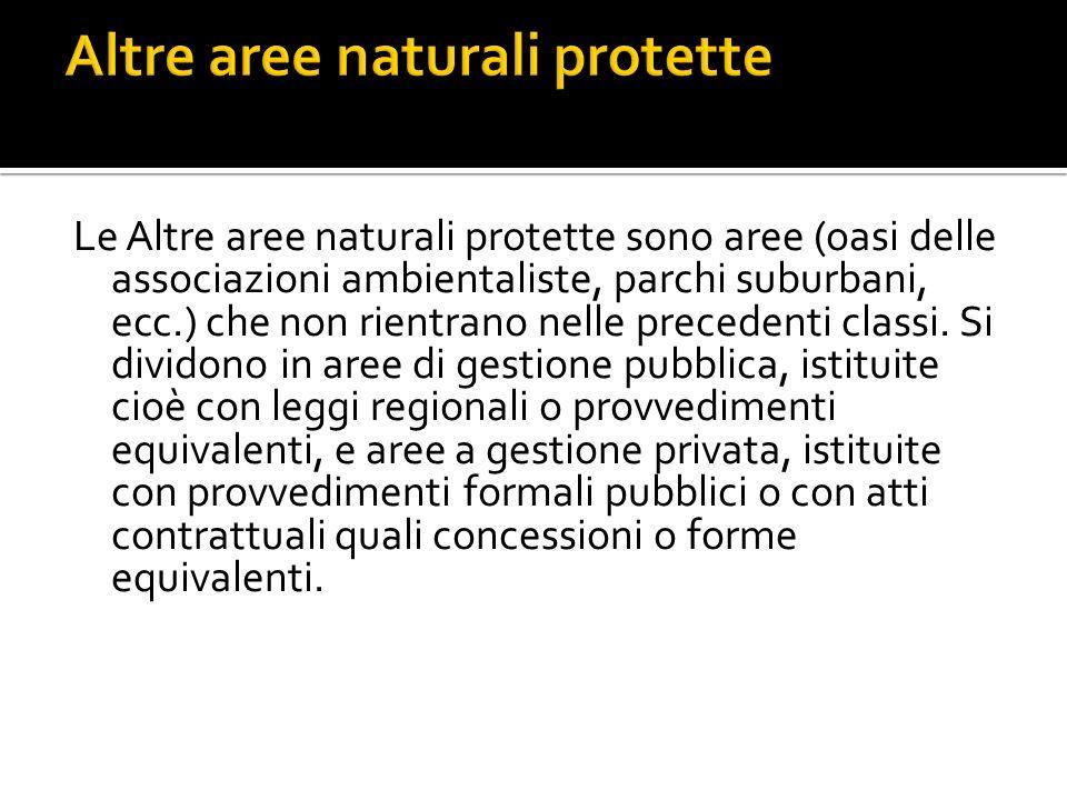 Le Altre aree naturali protette sono aree (oasi delle associazioni ambientaliste, parchi suburbani, ecc.) che non rientrano nelle precedenti classi.