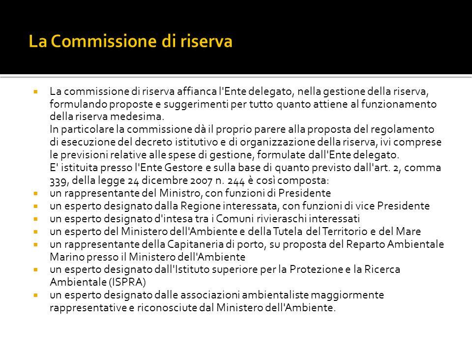 La commissione di riserva affianca l Ente delegato, nella gestione della riserva, formulando proposte e suggerimenti per tutto quanto attiene al funzionamento della riserva medesima.