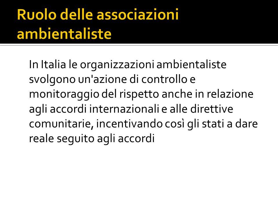 In Italia le organizzazioni ambientaliste svolgono un azione di controllo e monitoraggio del rispetto anche in relazione agli accordi internazionali e alle direttive comunitarie, incentivando così gli stati a dare reale seguito agli accordi