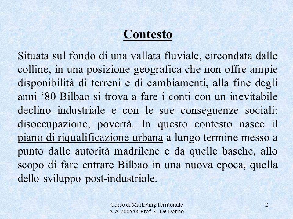 Corso di Marketing Territoriale A.A.2005/06 Prof. R. De Donno 2 Contesto Situata sul fondo di una vallata fluviale, circondata dalle colline, in una p