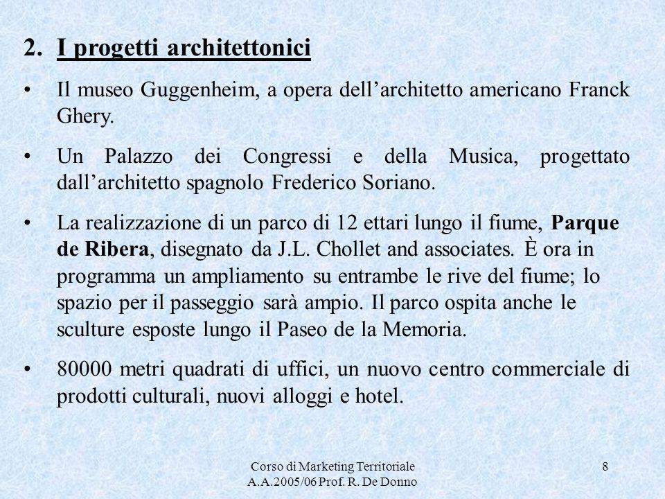 Corso di Marketing Territoriale A.A.2005/06 Prof. R. De Donno 8 2.I progetti architettonici Il museo Guggenheim, a opera dellarchitetto americano Fran