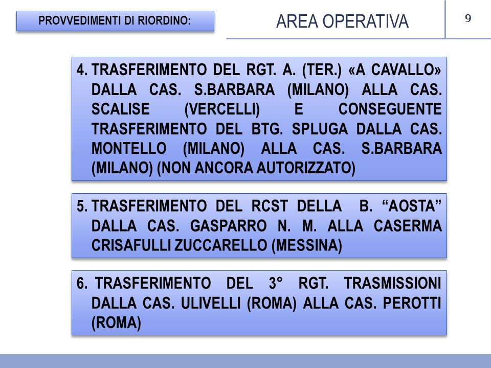 9 AREA OPERATIVA PROVVEDIMENTI DI RIORDINO: 5.TRASFERIMENTO DEL RCST DELLA B. AOSTA DALLA CAS. GASPARRO N. M. ALLA CASERMA CRISAFULLI ZUCCARELLO (MESS