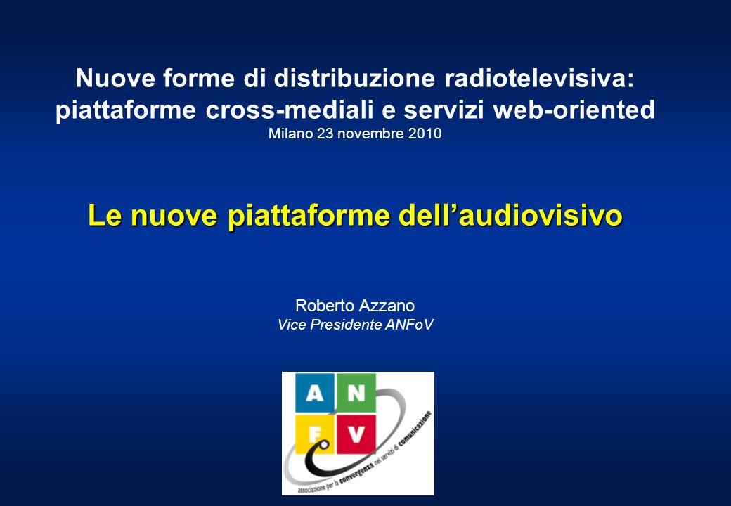 Nuove forme di distribuzione radiotelevisiva: piattaforme cross-mediali e servizi web-oriented Milano 23 novembre 2010 Le nuove piattaforme dellaudiovisivo Roberto Azzano Vice Presidente ANFoV